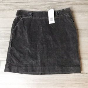NWT gray corduroy banana republic mini skirt Sz 2